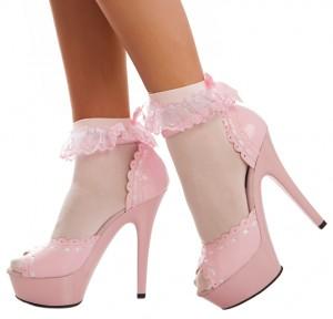 Sexy baby pink patent platform high heels